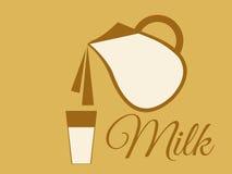 Een kruik melk Gietende melk van een kruik in een glas Vector stock illustratie