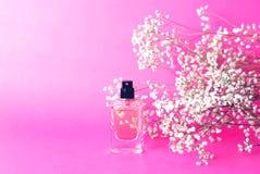 Een kruik parfum op een roze achtergrond met gypsophila royalty-vrije stock afbeeldingen