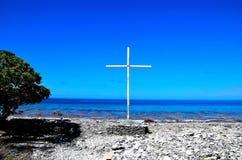 Een kruis op het strand royalty-vrije stock afbeeldingen