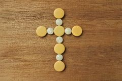 Een kruis op houten raad Royalty-vrije Stock Fotografie
