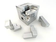 Een kubus die van blokken wordt gebouwd. Raadsel Royalty-vrije Stock Foto's