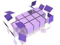 Een kubusserie is uiteenvallen - 3d abstract beeld Stock Foto