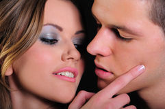 Een kus ongeveer om te gebeuren Stock Foto's