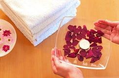 In een kuuroord, handen die een plaat met roze bloemblaadjes houdt Royalty-vrije Stock Afbeeldingen