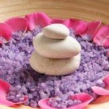 Een kuuroordsamenstelling van bloemblaadjes, stenen en zout Royalty-vrije Stock Foto