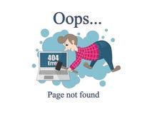 Een kwade persoon breekt een computer wegens een fout 404 fout Gevonden niet pagina vector illustratie