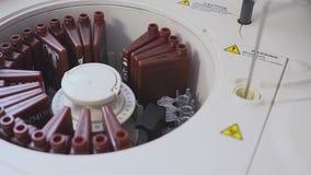 Een laboratoriumarbeider die een bloedonderzoek doen laadt de buizen in de machine De hulplading het flesje in het laboratorium stock video