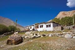 Een Ladakhi-huis bij Nubra-Vallei, Ladakh, India Stock Afbeelding