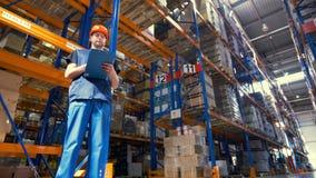 Een lage mening over een pakhuisinspecteur op het werk stock footage