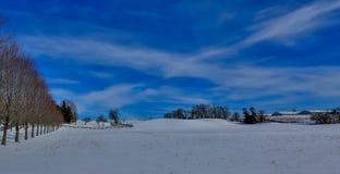 Een Landbouwbedrijf dat met sneeuw in de winter wordt behandeld stock afbeelding