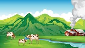 Een landbouwbedrijfhuis en koeien stock illustratie