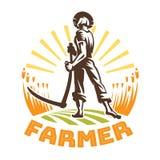 Een landbouwer met een zeis op een gebied stock illustratie