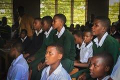 Een landelijke school in de voorstad van Arusha, Afrikaanse studenten in chemieklassen stock afbeelding