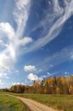 Een landelijke weg is in de herfst stock afbeeldingen