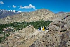 Een landschap dichtbij Likir-Klooster, Ladakh, Jammu en Kashmir, India Royalty-vrije Stock Fotografie