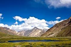 Een landschap dichtbij Rangdum-klooster, Zanskar-Vallei, Ladakh, Jammu en Kashmir, India Stock Foto