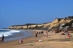 Een landschapsmening van het strand en de grote klip in Crystal Cove in de Kust van Nieuwpoort, Californië royalty-vrije stock foto
