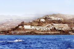 Een landschapsmening van vulkanische bergen in Gran Canaria stock afbeelding