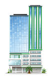 Een lang commercieel gebouw stock illustratie