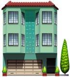 Een lang commercieel gebouw vector illustratie