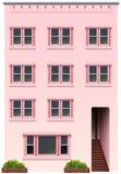 Een lang roze gebouw Stock Afbeeldingen