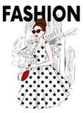 Een lang, slank meisje in een rok van Midi, een blouse, high-heeled schoenen en een koppeling Vector illustratie Kleding en toebe stock illustratie