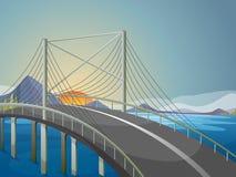 Een lange brug Stock Afbeelding