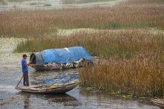 een Lange Natuurlijke reserve in Ninh Binh, Vietnam Stock Foto's