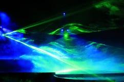 Een laser lichteffect in prestaties Stock Foto's