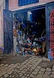 Een lasser op het werk in Marrakech souk Royalty-vrije Stock Foto's