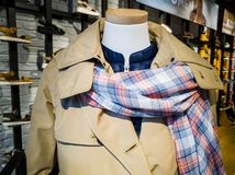 Een ledenpop toont de recentste fasionable sjaal, MAC en het jasje in een opslag royalty-vrije stock foto's