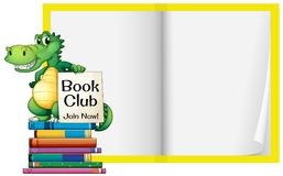 Een Leeg Boek met Krokodilmalplaatje Stock Fotografie