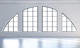 Een leeg modern helder en schoon zolderbinnenland Reusachtige panoramische vensters met witte exemplaar ruimte en witte muren Een Stock Afbeeldingen