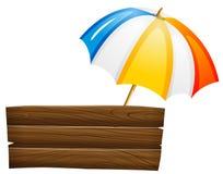 Een leeg uithangbord en een paraplu Royalty-vrije Stock Afbeelding