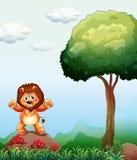 Een leeuw bij het bos die zich boven de rots dichtbij de paddestoel p bevinden stock illustratie