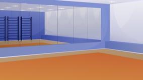 Een lege gymnastiek met spiegels op de muur en Zweedse muur Stock Afbeelding