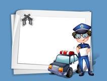 Een lege kantoorbehoeften met een politieagent Stock Afbeelding