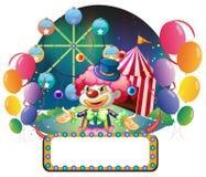 Een lege raad met lightbulbs voor een clown Stock Foto