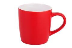 Een lege rode ceramische mok Stock Afbeelding