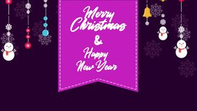 Een lengte van goederenkerstmis Vrolijke Kerstmis en Gelukkig Nieuwjaar stock illustratie
