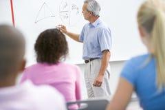 Een leraar spreekt aan schoolkinderen in een klasse Stock Foto's