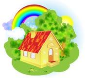 Een leuk beeldverhaal fairytale huis Royalty-vrije Stock Afbeeldingen
