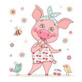Een leuk en mooi varkensmeisje draagt een bandana en een kleding met een kersendruk royalty-vrije stock foto's