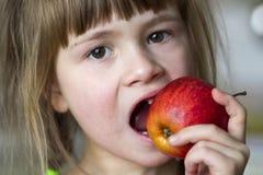 Een leuk klein krullend tandenloos meisje glimlacht en houdt een rode appel Royalty-vrije Stock Fotografie
