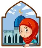 Een leuk moslimmeisje met moskee stock illustratie