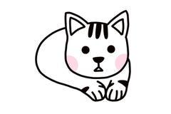Een leuk wit weinig kat vector illustratie