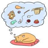 Een leuke abstracte oranje gestreepte katkat slaapt en ziet dromen royalty-vrije illustratie