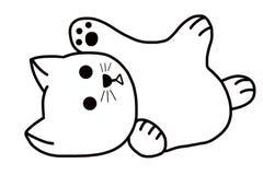 Een leuke gelukkige witte mollige kat royalty-vrije illustratie
