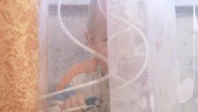 Een leuke jong geitjehuiden achter een gordijn bij het venster Bekijkt en lacht bij de camera stock video