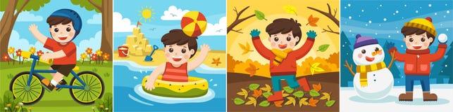 Een Leuke jongen die in verschillende seizoenen spelen stock illustratie